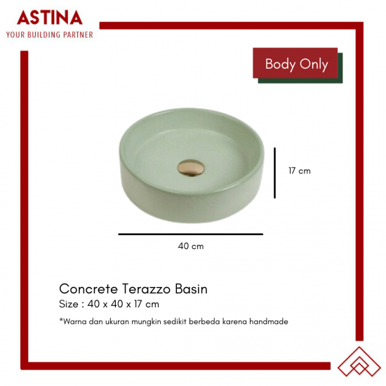 Wastafel Basin Bak Cuci Tangan Meja Bulat Concrete Teraso Minimalis Warna